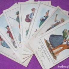 Postales: LOTE 7 POSTALES FRANCIA, ANTIGUAS PROVINCIAS DE FRANCIA, JEAN DROIT, PUBLICIDAD TRASERA. Lote 126584899