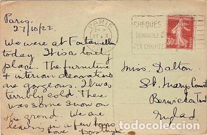 Postales: Francia & Fontainebleau, Palacio visto en el Jardín Inglés, Ala de Luis XV, París, Irlanda 1922 (193 - Foto 2 - 127979319