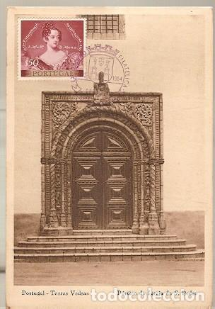 PORTUGAL & TORRES VEDRAS, PÓRTICO DE LA IGLESIA DE SAN PEDRO 1954 (5757) (Postales - Postales Extranjero - Europa)