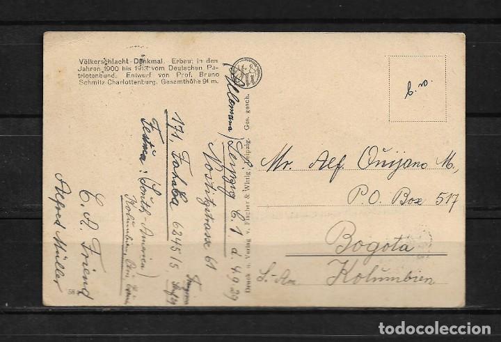 Postales: Alemania 1929 Tarjeta postal circulada de Leipzig a Colombia - Foto 2 - 142071570