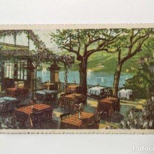 Terrazza in riva al lago. Albergo ristorante Delfino Isola Bella Stresa Borromeo Cartolina postale
