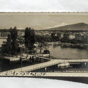 1913 Genève Ile Rousseau et Mont Blanc. Suiza