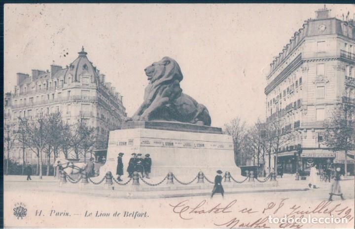 POSTAL PARIS - LE LION DE BELFORT - CIRCULADA - SIN DIVIDIR (Postales - Postales Extranjero - Europa)
