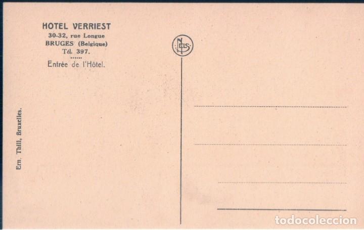 Postales: POSTAL BELGICA - BRUGES - HOTEL VERRIEST - ENTREE DE L'HOTEL - NELS - Foto 2 - 146516366