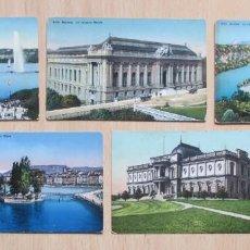 Postales: LOTE DE 5 TARJETAS POSTALES ANTIGUAS EN COLOR DE GENÊVE (GINEBRA). Lote 148057738