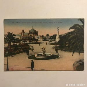 1921 Nice. jardin public, Fontaine des tritons, Palais de la Jelée. Francia