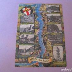 Postales: POSTAL DE ALEMANIA. DER RHEINLAUF VON RÜDESHEIM BIS KOBLENZ. ED. ALBERT NONN. CIRCULADA. 1961.. Lote 149889138