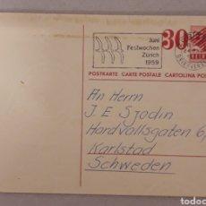 Postales: 1959. 2 INTERESANTES ENTEROPOSTALES DE SUIZA CON SELLO HABILITADO Y MATASELLOS ESPECIALES. Lote 151327396