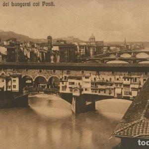 Firenze. Vista de los Lungarni con los puentes 13,7x8,5 cm