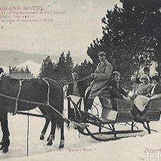 Postales: POSTAL LE GRAND HOTEL FONT ROMEU. SAISON D'ÉTE. DÉPART EN TRAINEAU.. Lote 156537458