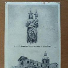 Postales: POSTAL SANTUARIO BASILICA BONARIA CAGLIARI CERDEÑA CIRCULADA 1939 SELLO CENSURA MILITAR BARCELONA. Lote 157349934