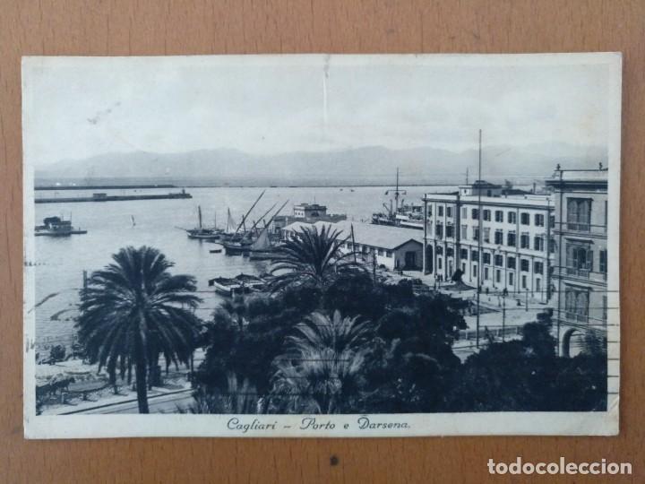POSTAL CAGLIARI (CERDEÑA-ITALIA) PORTO E DARSENA CIRCULADA 1939 (Postales - Postales Extranjero - Europa)