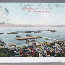 Postales: POSTAL GIBRALTAR THE TOWN AND HARBOUR BEANLAND MALIN & CO ESCRITA 1912. Lote 159982718
