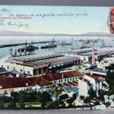 Postales: POSTAL GIBRALTAR THE DOCKYARD AND WORKSHOPS BEANLAND MALIN & CO CIRCULADA CON SELLO 1912. Lote 159982834