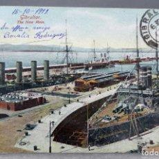 Postales: POSTAL GIBRALTAR THE NEW MOLE BEANLAND MALIN & CO CIRCULADA CON SELLO 1912. Lote 159983150