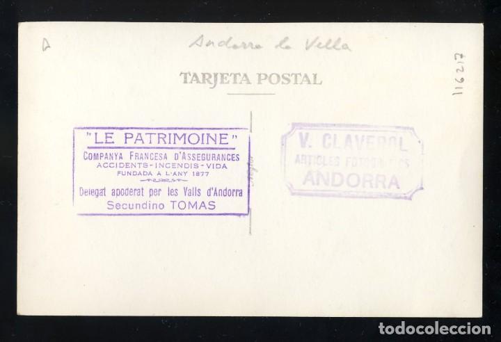 Postales: Foto-Postal d' ANDORRA LA VELLA (?): Vista (Claverol). Dors amb timbre Secundino Tomas - Foto 2 - 160140478