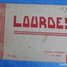 Postales: LOURDES. P. DOUCET. 12 CARTES ARTISTIQUES EN HÉLIO. BLOC POSTAL. Lote 161137530