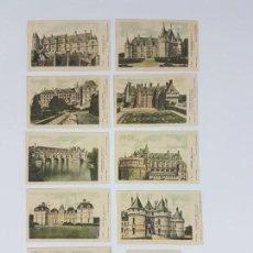 Postales: LOTE DE 9 POSTALES CASTILLOS DE FRANCIA ( COLECCIÓN DE LA SOLUCIÓN PAUTAUBERGE ). Lote 162596746