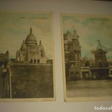 Cartoline: 2 ANTIGUAS POSTALES DE PARIS . LE MOLIN ROUGE Y LA BASILIQUE DE MONTMARTRE. J.C.. Lote 164541234