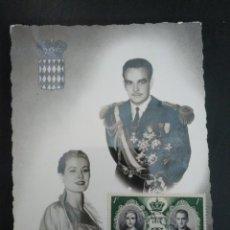 Postales: POSTAL MONACO BODA RAINIERO Y GRACE KELLY. SELLO EN EL ANVERSO DE LA BODA. ENVIADA 1957. Lote 166872480