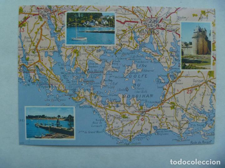 Postal De Le Golfe Du Morbihan Mapa Sacado D Buy Old Postcards
