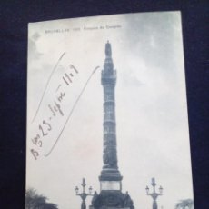Postales: POSTAL ANTIGUA BRUXELLES COLONNE DU CONGRES CIRCULADA EN 1909. Lote 171317104