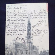 Postales: POSTAL ANTIGUA BRUXELLES HOTEL DE VILLE CIRCULADA EN 1908. Lote 171317930