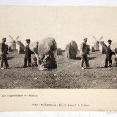 Postales: ANTIGUA POSTAL ESTEREOSCOPICA DE QUIBERON (FRANCIA). LES ALIGNEMENTS DU MOULIN. SIN CIRCULAR. Lote 173075305