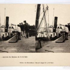Postales: POSTAL ESTEREOSCOPICA DE QUIBERON (FRANCIA). ARRIVEE DU BATEAU DE EEILE-ISLE. SIN CIRCULAR. Lote 173075578