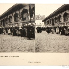 Postales: ANTIGUA POSTAL ESTEREOSCOPICA DE DOUARNENEZ (FRANCIA). LE MARCHE. SIN CIRCULAR. Lote 173075673