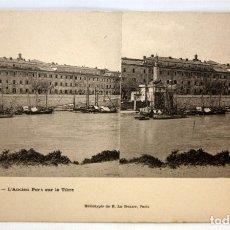 Postales: ANTIGUA POSTAL ESTEREOSCOPICA DE ROMA - L'ANCIEN PORT SUR LE TIBRE. SIN CIRCULAR. Lote 173183355