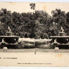 Postales: POSTAL ESTEREOSCOPICA DE ROMA (ITALIA). LA VILLA BORGHESE. SIN CIRCULAR. Lote 173183663