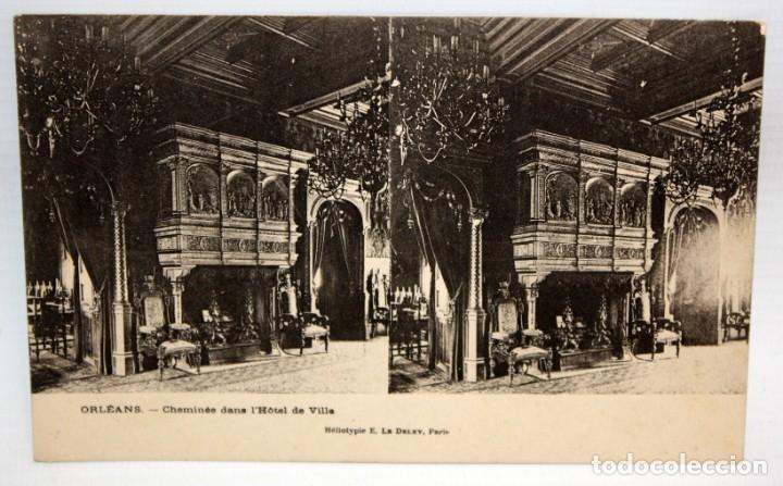 POSTAL ESTEREOSCOPICA DE ORLEANS - CHEMINEE DANS L'HOTEL DE VILLE. SIN CIRCULAR (Postales - Postales Extranjero - Europa)