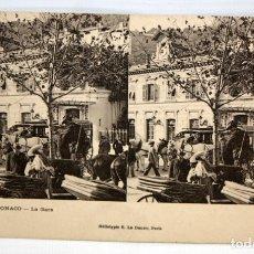Postales: ANTIGUA POSTAL ESTEREOSCOPICA DE MONACO. LA GARE. SIN CIRCULAR. Lote 173190987