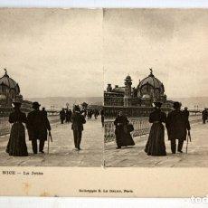 Postales: ANTIGUA POSTAL ESTEREOSCOPICA DE NICE (FRANCIA). LA JETEE. SIN CIRCULAR. Lote 173191208