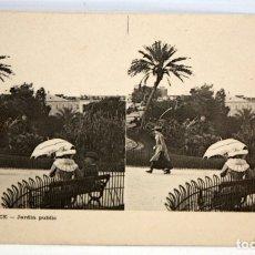 Postales: ANTIGUA POSTAL ESTEREOSCOPICA DE NICE (FRANCIA). JARDIN PUBLIC. SIN CIRCULAR. Lote 173191268