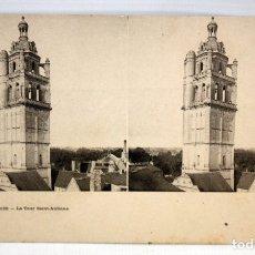 Postales: POSTAL ESTEREOSCOPICA DE LOCHES (FRANCIA). LA TOUR SAINT-ANTOINE. SIN CIRCULAR. Lote 173191529