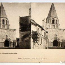 Postales: POSTAL ESTEREOSCOPICA DE LOCHES (FRANCIA). LA COLLEGIALE DE SAINT-OURS. SIN CIRCULAR. Lote 173191875