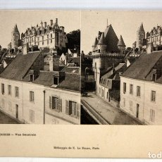 Postales: ANTIGUA POSTAL ESTEREOSCOPICA DE LOCHES (FRANCIA). VUE GENERALE. SIN CIRCULAR. Lote 173191967