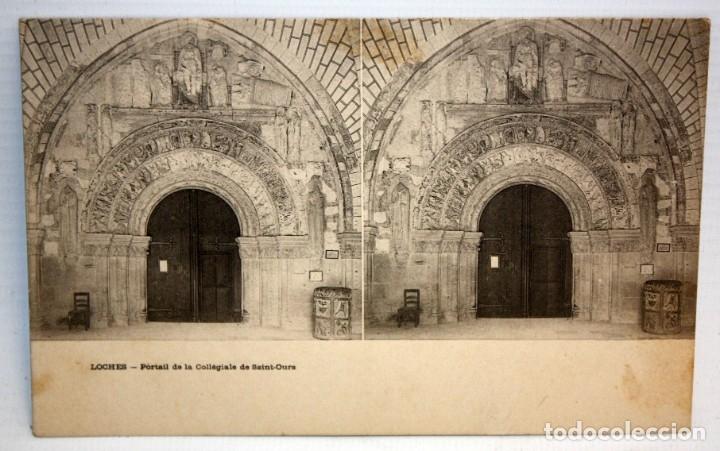 POSTAL ESTEREOSCOPICA DE LOCHES (FRANCIA). PORTAIL DE LA COLLEGIALE DE SAINT-OURS. SIN CIRCULAR (Postales - Postales Extranjero - Europa)
