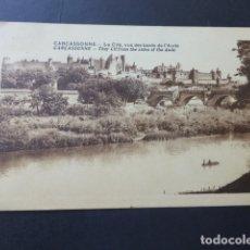 Postales: CARCASSONNE FRANCIA LA CITE VUE DES BORDS DE L´AUDE. Lote 175798683