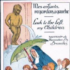 Postales: POSTAL BELGIQUE - SOUVENIR DE MANNEKEN PIS BRUXELLES N° 5 - MES ENFANTS REGARDONS A GAUCHE. Lote 175909068