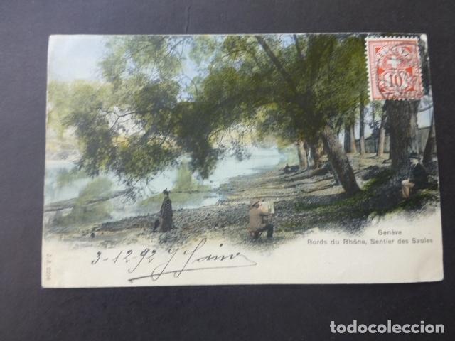 GINEBRA GENEVE SUIZA BORD DU RHONE SENTIER DES SAULES POSTAL (Postales - Postales Extranjero - Europa)