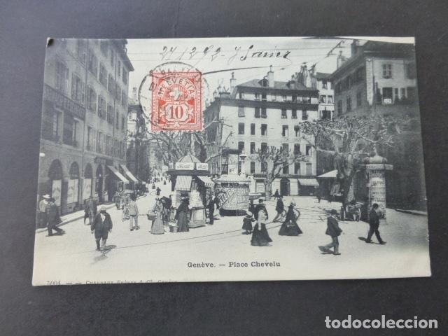 GINEBRA GENEVE SUIZA PLACE CHEVELU POSTAL (Postales - Postales Extranjero - Europa)