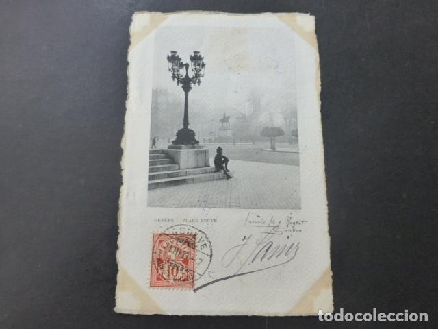 GINEBRA GENEVE SUIZA PLACE NEUVE POSTAL GRABADO (Postales - Postales Extranjero - Europa)