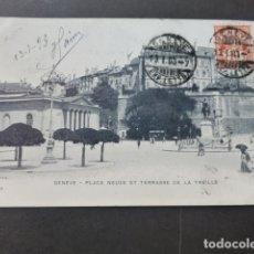 Postales: GINEBRA GENEVE SUIZA PLACE NEUVE ET TERRACE DE LA TREILLE. Lote 176107517