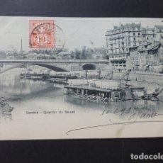 Postales: GINEBRA GENEVE SUIZA QUARTIER DU SEUJET. Lote 176107723