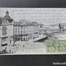 Postales: GINEBRA GENEVE SUIZA PLACE DE L'ILLE. Lote 176108325