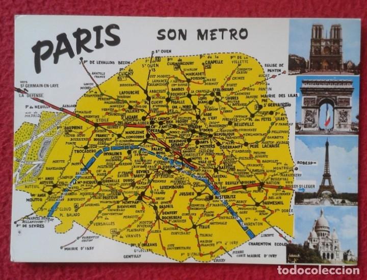 POSTAL POST CARD CARTE POSTALE FRANCE FRANCIA PARÍS SON METRO MAP MAPA ESTACIONES...SUBWAY STATION.. (Postales - Postales Extranjero - Europa)