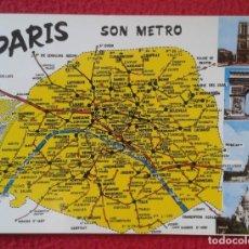 Postales: POSTAL POST CARD CARTE POSTALE FRANCE FRANCIA PARÍS SON METRO MAP MAPA ESTACIONES...SUBWAY STATION... Lote 176440299